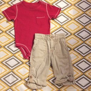 Old navy 12-18 month pocket onesie and cargo pants